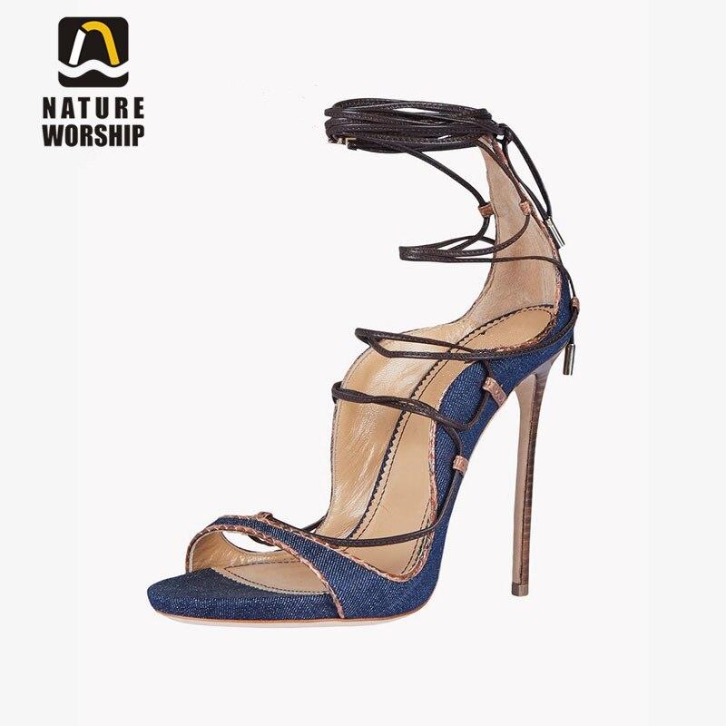 Women pumps open toe lace up high heels shoes woman shoe ankle strap denim woman sandals women pumps lace up sandals pumps<br>