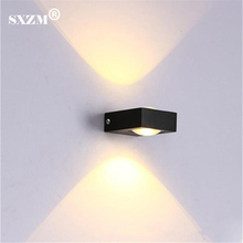 Waterproof 2W 6W LED wall lamp modern black body aluminum outdoor garden light lamp AC85-265V decoration light energy saving