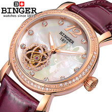 Genuine Swiss BINGER Brand Women automatic mechanical self-wind sapphire watch female form queen rose gold waterproof diamond