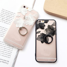 For iPhone 6 s Case for Coque iPhone 7 Plus 8 8P Luxury 6 Plus Female Mobile Phone Back Coque Cover Retro Flower Soft Cases 012S