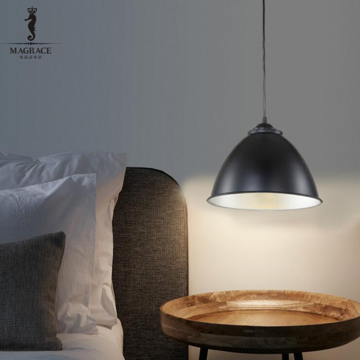 Modern Fashion Simple Pendant Lights Dia.30cm Aluminum Hanging Lamp for Dining Room Loft Decoration E27 Black/White Droplight<br>
