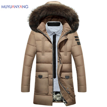 Men's Clothing Winter Casual Solid Color Detachable Hooded Long Down Jackets and Coats Warm Duck Down Jackets Zipper Coat 3XL