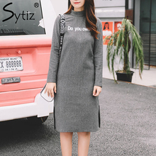 Sytiz Gray Knitted Women Dress Casual Straight Letter Turtleneck Sweat 2017 Winter Autumn Hot Sale Female Dresses(China)