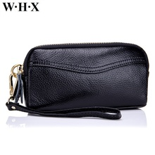 WHX Genuine Leather Clutch Bag Women Wallets Fashion Wallet Female Wallets Lady Coin Purse Pocketbook Billfold Card Money Bags(China)