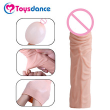 Buy Flexible Penis Sleeve Men Adult Sex Toy Reusable Condom Increase Length Thickness Cock Ring Cock Cage Penis Extender