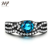 2017 New Black Rings Luxury 2 pieces Ring Sets AAA Blue Cubic Zirconia Fashion Jewelry for Women Wholesale R613
