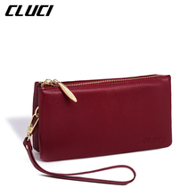 CLUCI Women's Wallets Luxury Real Genuine Leather High Capacity Fashion Wristlets Purse Cellphone Holder Clutch Standard Wallet