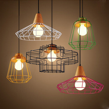 Colorful Birdcage Pendant Lamp Scandinavian Modern Minimalist Art Iron Pendant Light Creative Restaurant Lights