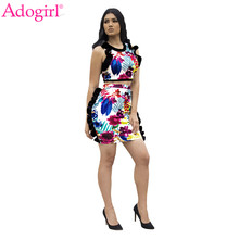Adogirl Floral Print Ruffle Women Two Piece Set Sleeveless Cropped Tank Top High Waist Bodycon Mini Skirt Sexy Club Suits Outfit(China)