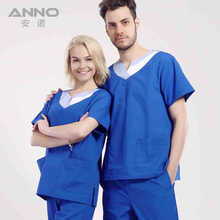 2015 new breathable V-neck nurse doctors surgical scrub sets uniforms women&men hospital gowns short sleeve 4XL Anno