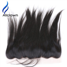 ALICROWN Silky Straight Ear To Ear Lace Frontal Closure Bleached Knots Brazilian Remy Hair Frontal With Baby Hair Natural Color