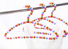 Best selling acrylic clothers hangers for adults 40cm colorful crystal beads hanger for shop & home 10 pcs/lot free shipping(China)