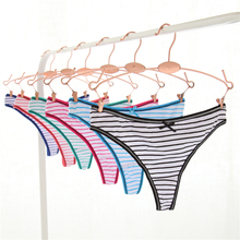 Buy 3pcs/lot M L XL Fashion Women G String Stripe Thongs Sexy Cotton Underwear Ladies Panties Briefs