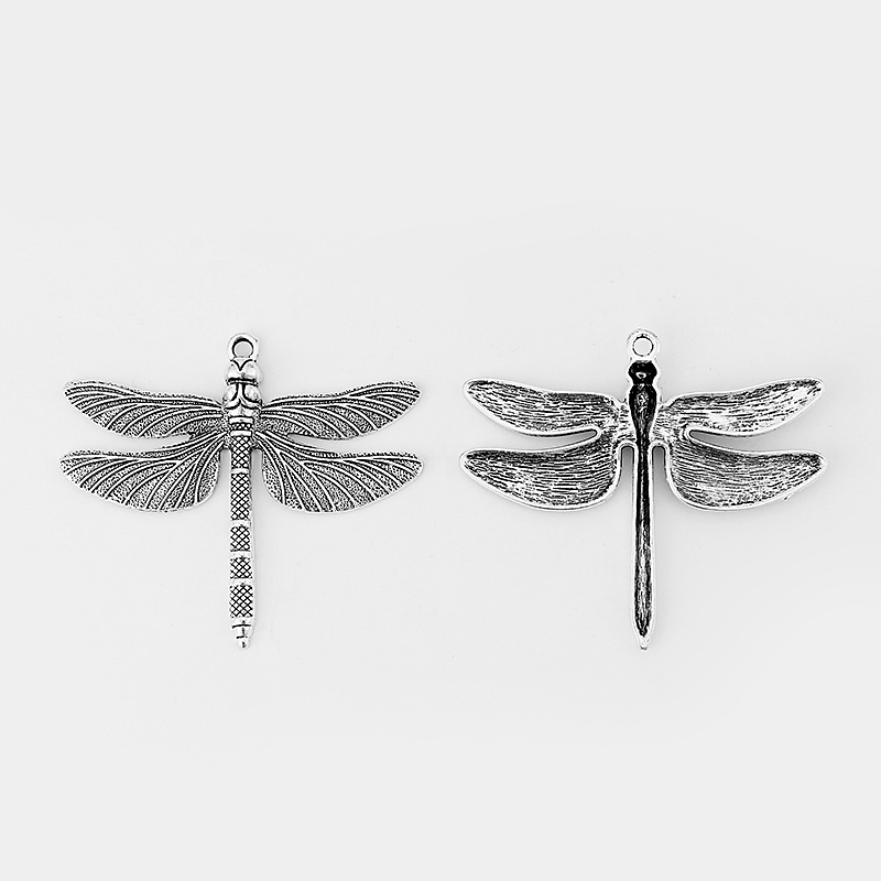 10pcs Large Antique Silver Dragonfly Charms Pendants Jewelry Findings 72x63mm