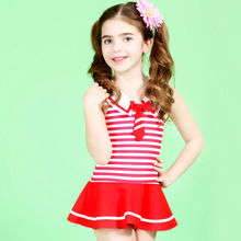 Lovely UK Style Navy Stripes Girls Swimwear Cute Baby Girl One Piece Swimsuit with Skirt Kids Swimsuits for Girl 3 - 10 Years(China)