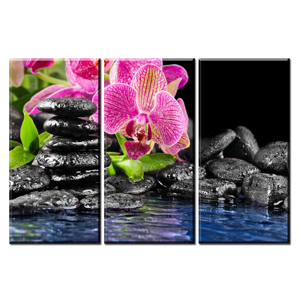 xh1988 3 panel pink orchid flower stone water canvas paintings wall pictures for living room decor unframed(China (Mainland))