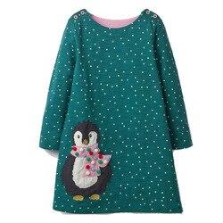 Платье для девочек с аппликацией в виде животных; платье принцессы с длинными рукавами; Детский костюм; Robe Fille; Детские праздничные платья; о...