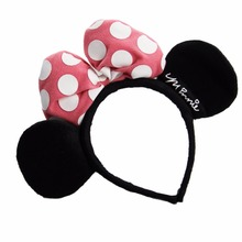 Children's day evening pink bowknot minnie mickey head hoop Hair Bow Headband decorated Mickey