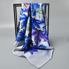 Maple Leaf Print 100% Silk Twill Scarf Women's Quality Hand Rolled Square Silk Scarves Wraps Shawl 90x90cm(China)