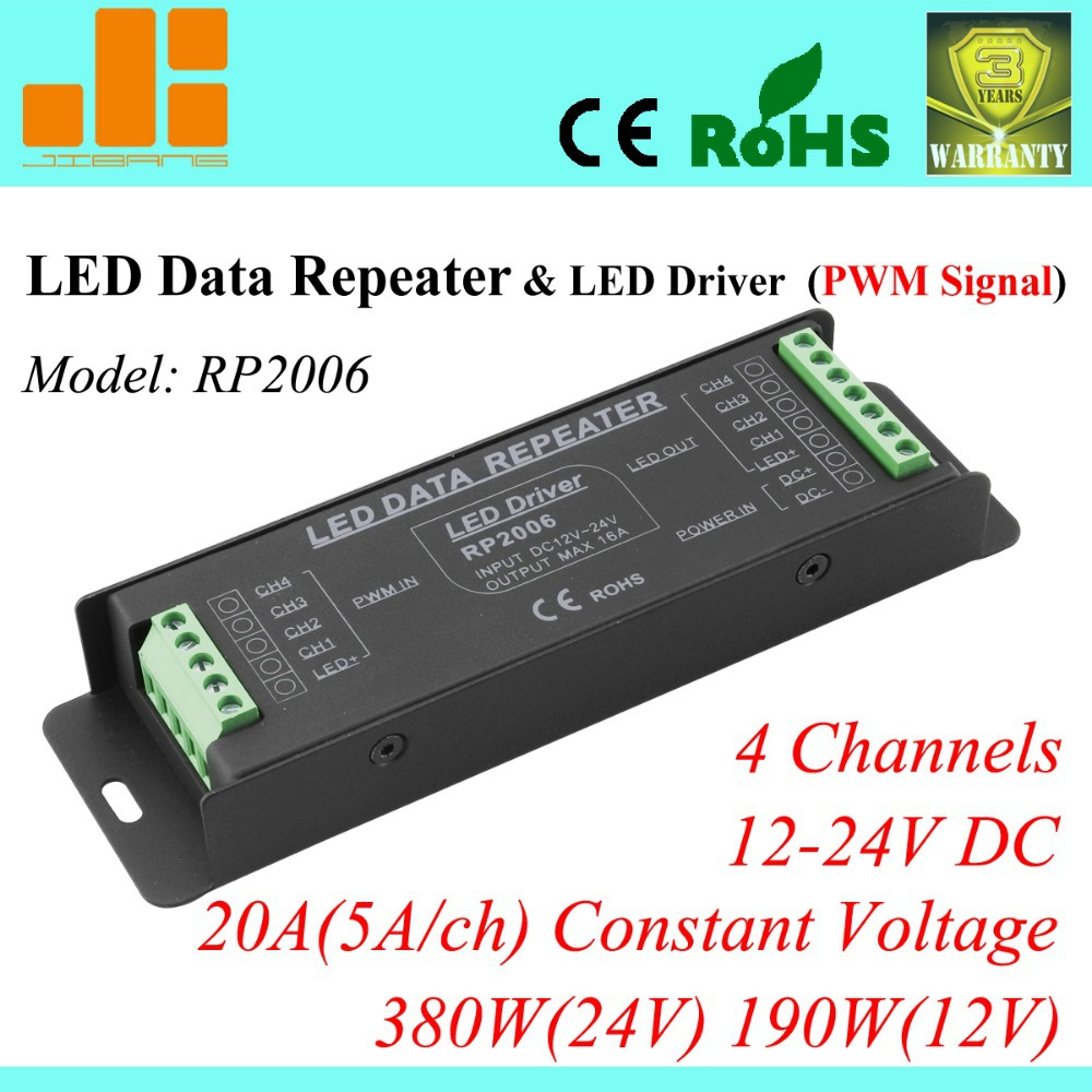 Free Shipping  4 channels RGBW amplifier &amp; LED power amplifier, PWM Data Repeater 20A 380Wk, Constant Voltage, RP2006<br><br>Aliexpress