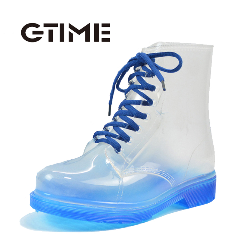 2017 Women Rainboots Transparent Waterproof Colorful Spring Autumn Shoes Rainboot Woman Ankle Boots #ZH7<br><br>Aliexpress