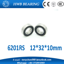 Free shipping 10Pcs 6201-2RS 6201RS 6201 RS 12*32*10mm Deep Groove Ball Bearings 12 x 32 x 10mm for bicycle hubs