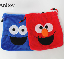 2pcs/lot Cartoon Sesame Street Elmo Plush Drawstring Bag Coin Pocket Soft Stuffed Animal Dolls for Children Kids' Toy AP0240(China)