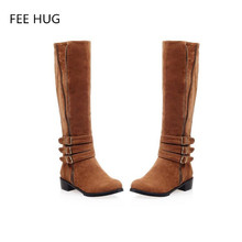 Winter Woman's Fashion Boots Female Knee High Martin Boots Square Heels Women' Round Toe Knight Boots Sexy Suede Plush Shoes 43