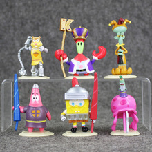 6.5-9cm 6pcs/lot  New Arrival SpongeBob Figures Toys Bob Esponja Plastic Plastic Aciton Model Dolls Kids Collectible Gifts