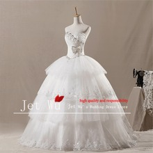 2015 New Real Picture Of Beautiful Ball Gown Heavy Beaded Corset Puffy Tulle Skirt Wedding Dress Manufacturer 7018(China)