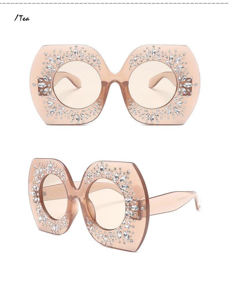e236de3c36 2018 Oversized Square Crystal Sunglasses Women 4315 Luxury Designer ...