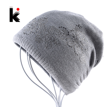 2017 Winter Ladies Knit Hats For Women Beanies Hat Flower Diamond Beanie Brand Touca Knitted Cap Balaclava Caps Bonnet Hats(China)