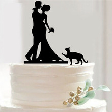 Pretty Bride and Groom cat Cake Toppers Couple Wedding Romantic Cake Topper for Wedding Cake Decorative Accessories