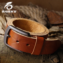 Buy BAIEKU Full grain leather men's belt Retro style jeans accessories belt Fashion pin buckle belt Leather belt for $16.52 in AliExpress store