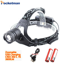 3800LM USB Rechargeable Headlamp CREE XM-L T6 LED headlight 3 Models Waterproof head lamp for 18650 battery Riding lights