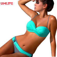 Bikini Push Up Swimsuit Woman Swimwear Large Size Female Turquoise Thong Bikinis Set Women 2017 Biquini Bathing Suit Wholesale(China)