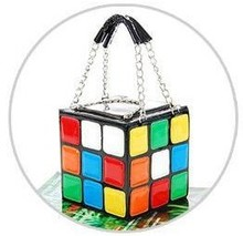 New Hotsale  portable magic cube bag summer tote bag personalized japanned PU Leather small bag