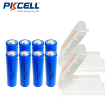 8Pcs*PKCELL 14500 Battery 3.7V 750mAh ICR14500 Lithium Li-ion Rechargeable Batteries For Flashlight+2pcs AA/AAA Battery Boxes