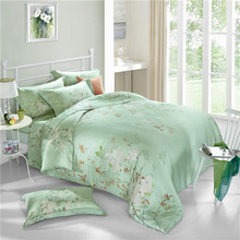 Chinese style 100% natural Tencel silk rural plant butterfly green dream 4pcs comforter/duvet cover bedding set Queen/King/3598