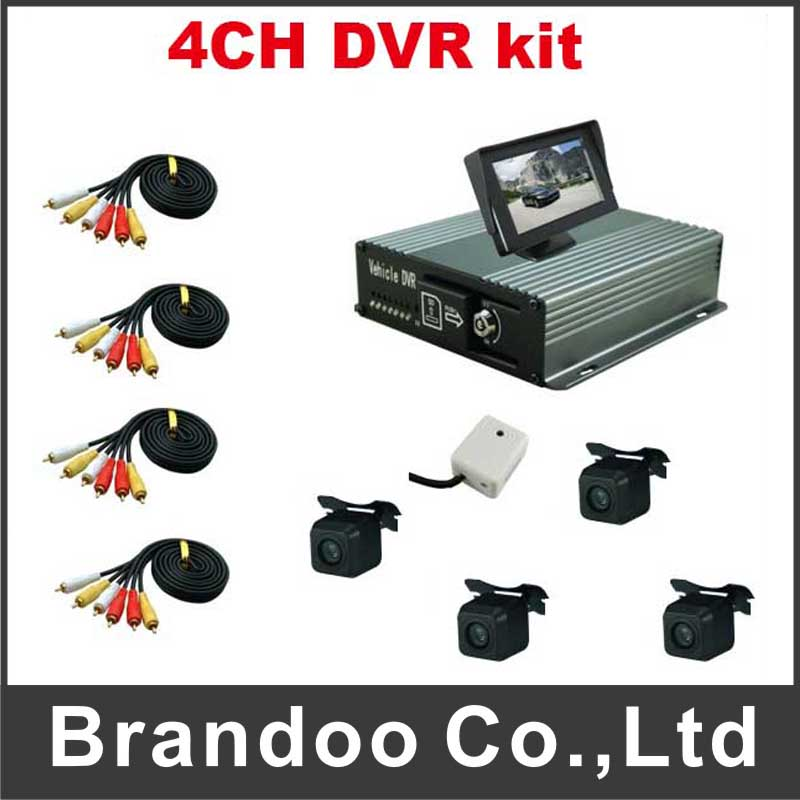 4CH Car Mobile DVR Video Recorder kit for Vehicle Car security(China (Mainland))