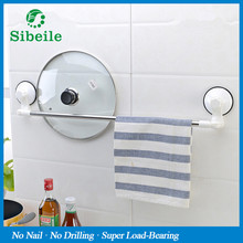 sble 1 pics stainless steel suction cup bathroom single towel bars rack shelf towel holder bathroom tools wall mount towel bars