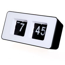 COFA Retro Auto Flip square shape Clock Modern LCD Digital Wall Clock Table Desktop Alarm Clock
