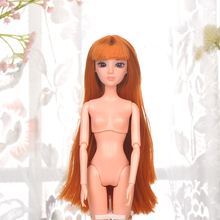 10 Pcs/Set 1/6 Doll Head 3D Eyes Antiquity Hairstyle Long Hair Dolls Head For Girl Accessories DIY Dolls Head 11inch For Kids
