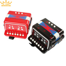 7 Keys + 3 Buttons Children Kids Button Toy Accordion(China)