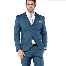 Latest design style men wedding suits tuxedos slim fit men suits haute couture groom best man dress suits(jacket+vest+pants)(China)
