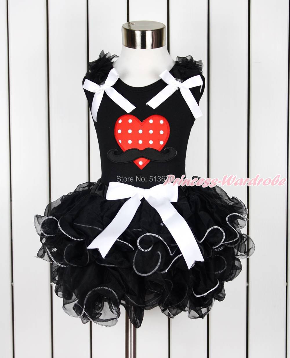 Valentine Black Top Mustache Minnie Dot Heart Pure Black Petal Pettiskirt NB-8Y MAPSA0125<br><br>Aliexpress