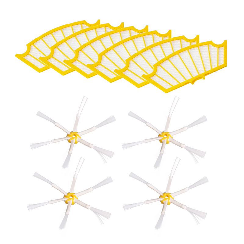 6 Filters + 4 Side Brush 6 Armed for iRobot Roomba 500 Series 530 540 550 560 570 580 610 Vacuum Cleaning Robotic Accessory(China)