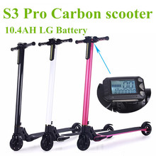 Foldable S3 Pro Carbon Electric Scooter Hoverboard 10.4AH LG Battery for Adults and Children Electric Bike Bicycle Electrombile(China)
