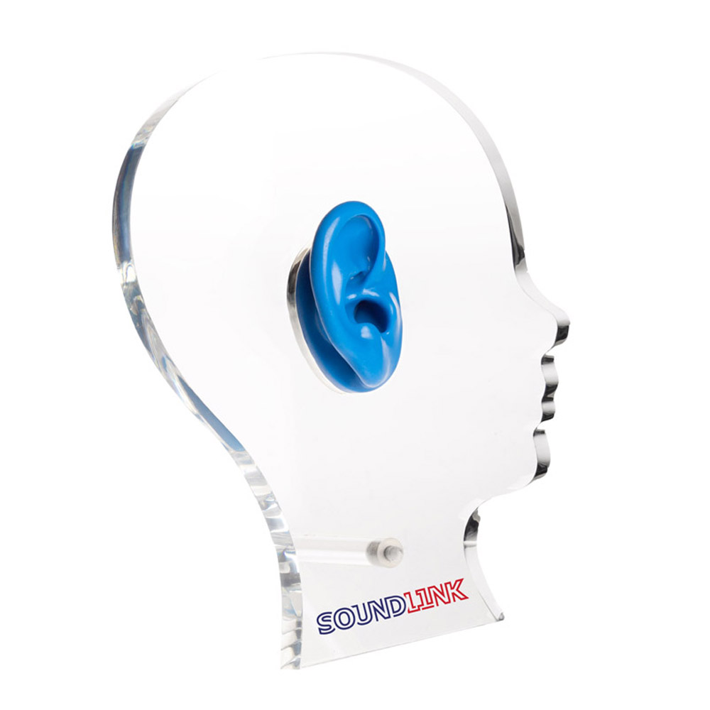 Acrylic Display Stand Exhibition Head Shape Hearing Aids Earphones Showcase Display with One Silicone Ear<br>