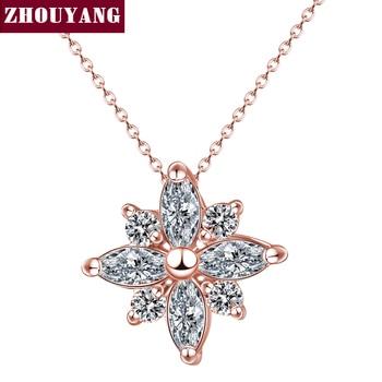 Qualidade superior de Cristal Do Floco De Neve Colar Rose Banhado A ouro Moda Jóias Níquel Livre Pingente Cristal ZYN400 ZYN401